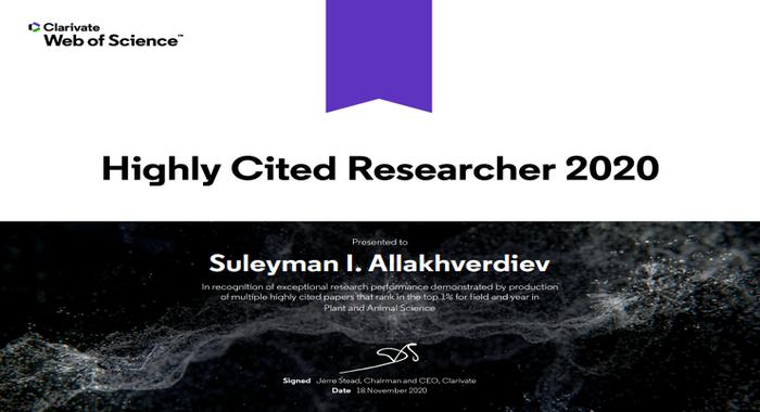 Azərbaycan aliminin adı 2020-ci ildə dünyanın ən çox istinad olunan tədqiqatçıları siyahısında yer alıb